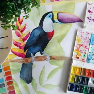 AKWARELE | Jak namalować Tukana? | SPEED ART