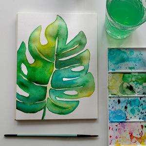 AKWARELE | Jak namalować liść monstery? SPEED ART