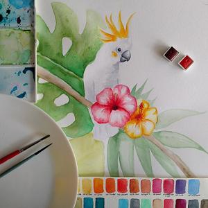 AKWARELE | Jak namalować kakadu? SPEED ART