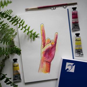 Dzień Niesłyszących – akwarelowy znak migowy