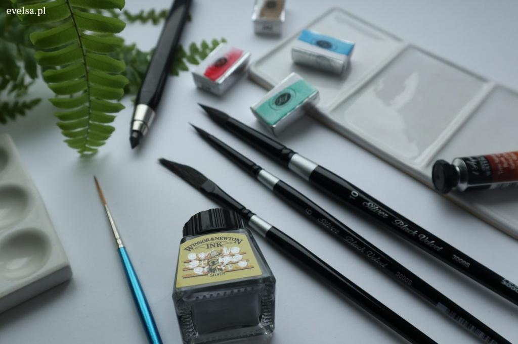 szał dla plastyków akwarele pędzle ołówki rysunek brystol tusz paleta