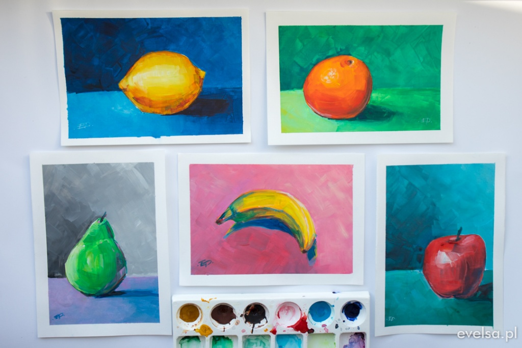 maluje gwasz plakatowkami farby tempera malowanie nauka martwa natura-44