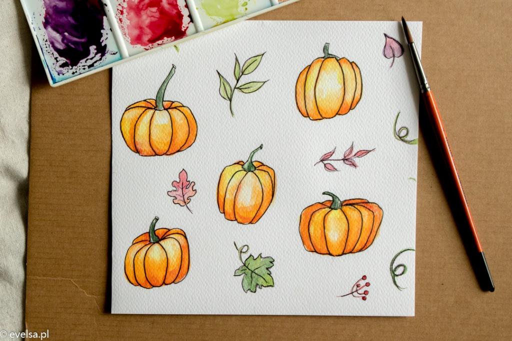 jak namalowac dynie akwarele dla poczatkujacych halloween plastyka evelsa pl-2