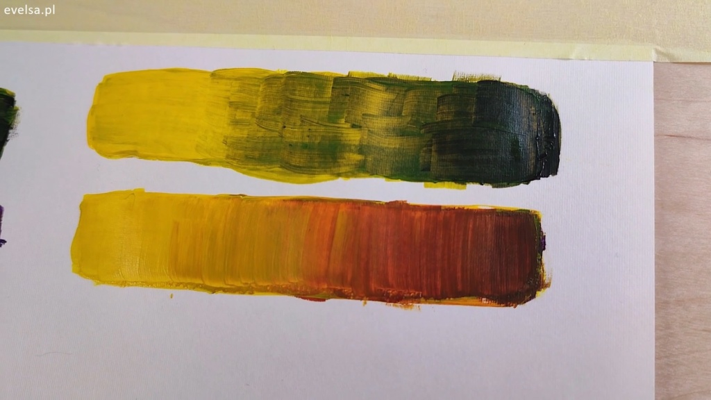 brudzenie kolorów farby akrylowe